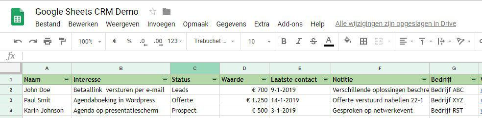 voorbeeld Google Spreadsheet CRM