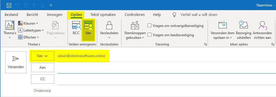 Outlook Van veld weergeven
