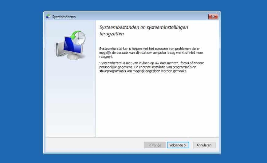 windows 10 systeemherstel