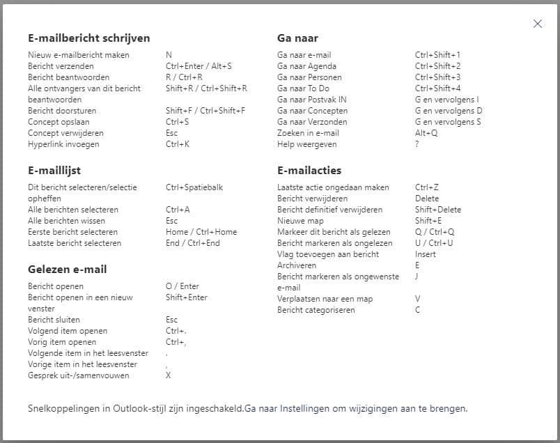 Microsoft 365 Outlook online sneltoetsen