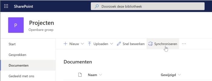 Sharepoint documenten synchroniseren