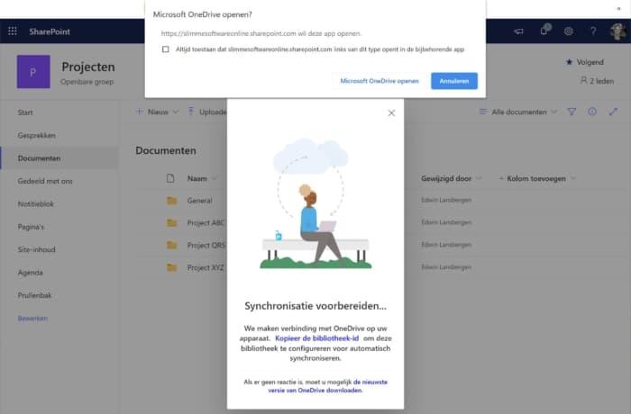 Sharepoint documenten synchroniseren melding One Drive